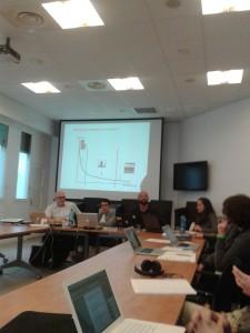 Conférence Musique en réseaux du 7 avril 2014 à l'Institut des Sciences de la Communication du CNRS. De gauche à droite Jean-Marc WOLFF, Guillaume HEUGUET, Jean-Samuel BEUSCART et Jeanne BITKER
